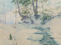 Walter Launt Palmer (American, 1854-1932) Snowy brook Watercolor and pencil on paper 17 x 23 inch