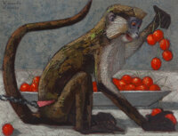 Vicente Viudes (Spanish, 1916-1984) Monkey with cherries Oil on canvas 10-1/4 x 13-1/2 inches (26
