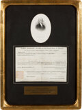 """Autographs:U.S. Presidents, James Madison Land Grant Signed. One page, 12.5"""" ..."""