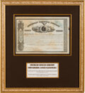 Autographs, John Butterfield and William Fargo Signed 1865 American Express Stock Certificate....