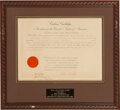 Autographs:U.S. Presidents, Calvin Coolidge Circuit Judge Appointment Signed. ...