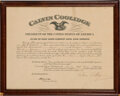 Autographs:U.S. Presidents, Calvin Coolidge Signed Appointment. One page, 17....