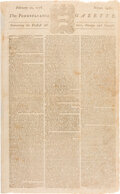 Miscellaneous:Newspaper, [Governor Richard Penn's Testimony to the House of Lords Regarding Colonies' Attitudes Toward Independence] The Pennsylv...