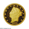 Proof Liberty Double Eagles: , 1869 $20 PR64 Cameo NGC. This is an exquisite proof ...