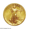 High Relief Double Eagles: , 1907 $20 High Relief, Wire Rim MS62 PCGS. Honey-gold in ...