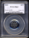 Proof Three Cent Silver: , 1865 3CS PR65 PCGS. Bands of lovely rose, lemon, and ...