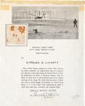 Explorers:Space Exploration, Wright Brothers: Piece of Original Wright Flyer Fabric on Presentation Certificate....