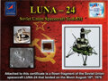 Explorers:Space Exploration, Luna 24 Soviet Spacecraft Piece as Flown to the Surface of the Moon and Back to Earth on Certificate....