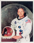 Explorers:Space Exploration, Neil Armstrong Signed and Inscribed Apollo 11 White Spacesuit Color Photo....