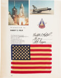 Explorers:Space Exploration, Space Shuttle Columbia (STS-1) Flown American Flag on Presentation Certificate. ...