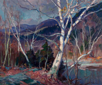 Emile Albert Gruppe (American, 1896-1978) Birches Along the River Oil on canvas 30 x 36 inches (7