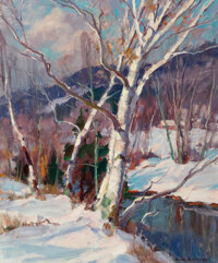Emile Albert Gruppe (American, 1896-1978) First Snow, Vermont Oil on canvas 30 x 25 inches (76.2