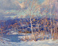 Emile Albert Gruppe (American, 1896-1978) Winter Snow Oil on canvas 32 x 40 inches (81.3 x 101.6