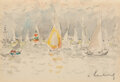 Works on Paper, André Hambourg (French, 1909-1999). Out sailing (two works). Watercolor and pencil on paper. 5-1/2 x 8 inches (14.0 x 20... (Total: 2 Items)