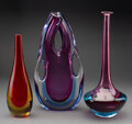Glass, Three Murano Glass Sommerso Vases, Italy, mid-20th century . 13-1/8 inches (33.3 cm) (tallest). ... (Total: 3 Items)