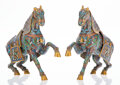 Ceramics & Porcelain, A Pair of Chinese Cloisonné Horse Figure Incense Burners, 20th century . 15-3/4 x 5-3/4 x 19 inches (40.0 x 14.6... (Total: 2 Items)