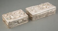 Silver & Vertu, Two Japanese Hammered and Repoussé Silver Boxes. 2-1/8 x 7-1/8 x 3-1/2 inches (5.4 x 18.1 x 8.9 cm) (largest). 27.34 troy ou... (Total: 2 Items)
