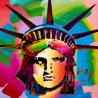 Peter Max (American, b. 1937) Liberty Head, 1993 Acrylic on canvas 36 x 36 inches (91.4 x 91.4 c