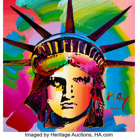 Peter Max (American, b. 1937) Liberty Head, 1993 Acrylic on canvas  36 x 36 inches (91.4 x 91.4 cm) Signed lower rig...