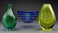 Three Orrefors Glass Ariel Pieces, mid 20th-early 21st century Marks to bowl and one vase: ORREFORS, Edvin Ö... (To...