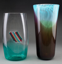 Two Murano Glass Vases, Italy, late 20th century Marks to smallest vase: Barbini, Murano 14-1/4 inches (36.2 cm) (ta...