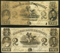 Obsoletes By State:Kentucky, Frankfort, KY - Farmers Bank of Kentucky First Series Genuine & Counterfeit Comparison Pair $2 1858/1857 KY-100 Design 2A/2A... (Total: 2 notes)