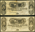 Obsoletes By State:Kentucky, Frankfort, KY - Farmers Bank of Kentucky First Series Genuine & Counterfeit Comparison Pair $5 1850 KY-100 Design 5A Mixed... (Total: 2 notes)