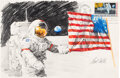 """Explorers:Space Exploration, Apollo 17: Paul Calle Original Signed Color Pencil Drawing of Gene Cernan and the American Flag on a Large """"First Man On The M..."""