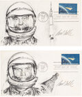 """Explorers:Space Exploration, Project Mercury: Paul Calle Original Signed Pencil Drawings of Alan Shepard and John Glenn on Separate 1962 """"Project Mercury"""" ... (Total: 2 )"""