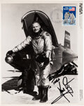 Explorers:Space Exploration, Neil Armstrong as X-15 Pilot with Plane Signed and Inscribed Vintage NASA Photo, with Added Stamp and Apollo 11 20th Anniversa...