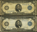 Large Size:Federal Reserve Notes, Fr. 851b $5 1914 Federal Reserve Note Fine;. Fr. 859a $5 1914 Federal Reserve Note Fine.. ... (Total: 2 notes)