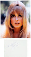 Movie/TV Memorabilia:Autographs and Signed Items, Sharon Tate Signed and Inscribed Slip of Paper....