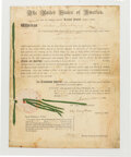 Autographs:U.S. Presidents, James Monroe and John Quincy Adams Signed Patent. ... (Total: 3 )