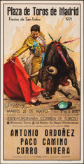 """Extraordinary Bullfight (Madrid Bullring, 1971). Rolled, Fine/Very Fine. Signed Spanish Posters (2) (21.25"""" X 41.75..."""