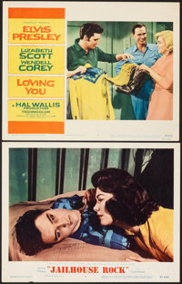 "Jailhouse Rock & Other Lot (MGM, 1957). Very Fine-. Lobby Cards (2) (11"" X 14""). Elvis Presley. ... (Total..."