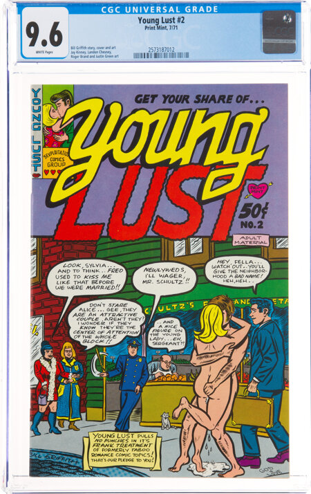 Young Lust #2 (Print Mint, 1971) CGC NM+ 9.6 White pages....