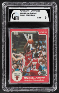 1984-85 Star Co. Chicago Bulls Team Set (12) In Original Sealed Bag GAI Mint 9 - Jordan Rookie!