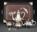 Silver & Vertu, A Five-Piece Chinese Export Silver Tea Set with Silver Inlaid Tray, late 19th-early 20th century. Marks: 90, WH, (va... (Total: 6 )