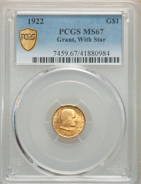 1922 G$1 Grant, With Star PCGS Secure 67 PCGS