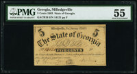 Milledgeville, GA- State of Georgia 5¢ Jan. 1, 1863 Cr. 19 PMG About Uncirculated 55