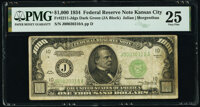 Fr. 2211-J $1,000 1934 Dark Green Seal Federal Reserve Note. PMG Very Fine 25