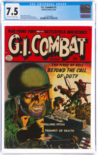 G.I. Combat #1 (Quality, 1952) CGC VF- 7.5 Off-white to white pages