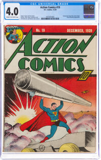 Action Comics #19 (DC, 1939) CGC VG 4.0 Cream to off-white pages