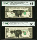 Error Notes:Ink Smears, Black Ink Smear on Face Error Fr. 1915-B $1 1988A Federal Reserve Notes. Five Consecutive Examples. PMG Choice Uncirculated 64... (Total: 5 notes)