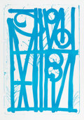 Prints & Multiples, RETNA (b. 1979). Ludavico & Ludovico (Blue), 2018. Stone lithograph in color on BFK Rives paper. 44-1/2 x 31-1/2 inches ...