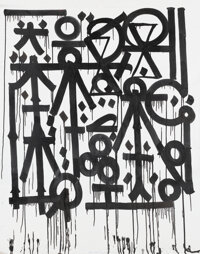 RETNA (b. 1979) Untitled (Black & White), early 21st century Acrylic on canvas 71 x 60 inches (18