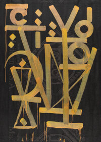 RETNA (b. 1979) Untitled, early 21st century Acrylic and glitter on GMC Craft paper 55 x 40 inche