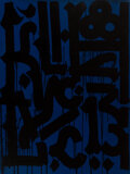 Paintings, RETNA (b. 1979). Untitled (Black on Blue), early 21st century. Acrylic on canvas. 40 x 30 inches (101.6 x 76.2 cm). Sign...