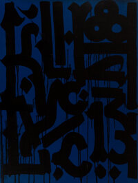 RETNA (b. 1979) Untitled (Black on Blue), early 21st century Acrylic on canvas 40 x 30 inches (10
