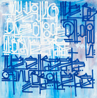 RETNA (b. 1979) My Young Blue Blood, early 21st century Acrylic on wood panel 36 x 36 x 1-3/4 inc